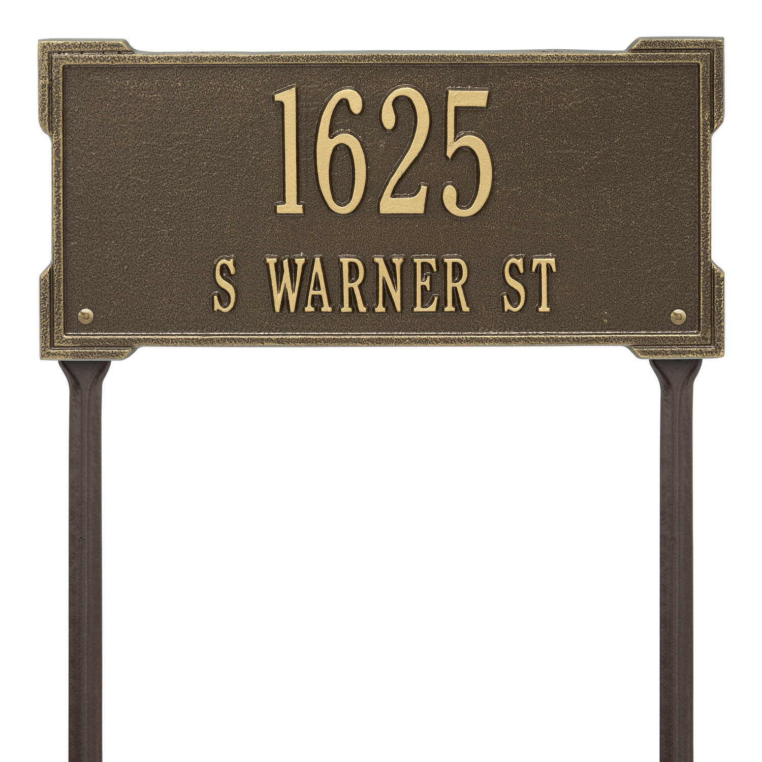 9e916dad897e The Roanoke Rectangle Address Plaque with a Antique Brass Finish, Standard  Lawn with Two Lines