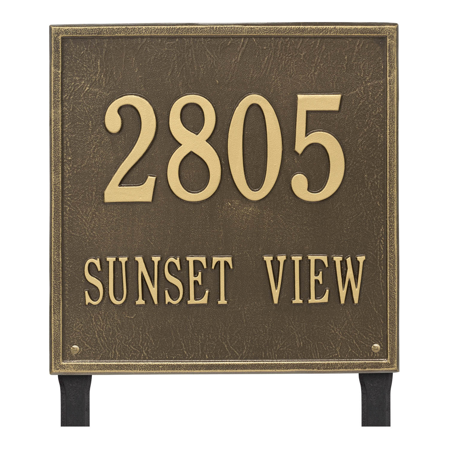 bda63aaacf75 Personalized Square Antique Brass Finish, Estate Lawn with Two Lines of Text