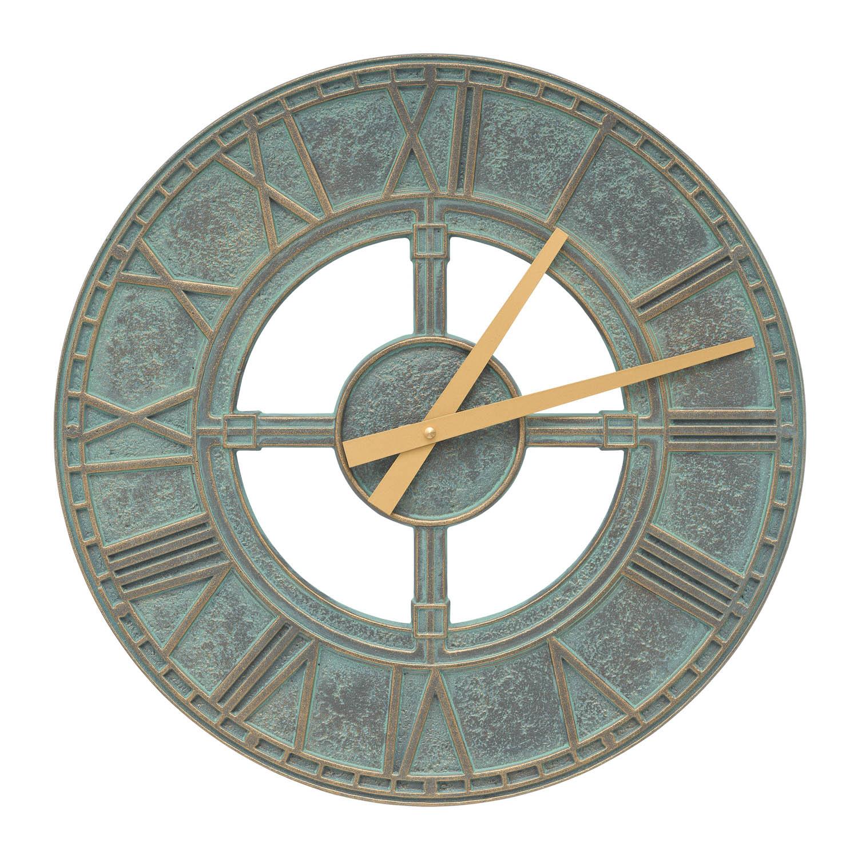 Indoor Outdoor Wall Clock Bronze Verdigris