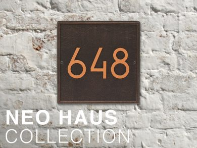 NeoHaus Modern Address Numbers on White Brick Wall