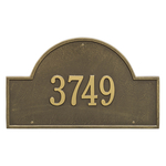 Arch Marker Address Plaque with a Antique Brass Finish, Estate Wall Mount with One Line of Text