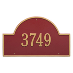 Arch Marker Address Plaque with a Red & Gold Finish, Estate Wall Mount with One Line of Text
