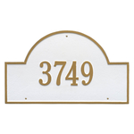 Arch Marker Address Plaque with a White & Gold Finish, Estate Wall Mount with One Line of Text