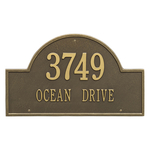Arch Marker Address Plaque with a Antique Brass Finish, Estate Wall Mount with Two Lines of Text