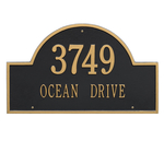 Arch Marker Address Plaque with a Black & Gold Finish, Estate Wall Mount with Two Lines of Text
