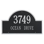 Arch Marker Address Plaque with a Black & Silver Finish, Estate Wall Mount with Two Lines of Text