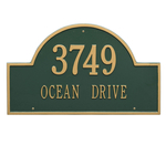 Arch Marker Address Plaque with a Green & Gold Finish, Estate Wall Mount with Two Lines of Text