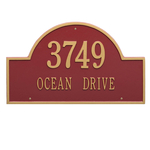 Arch Marker Address Plaque with a Red & Gold Finish, Estate Wall Mount with Two Lines of Text