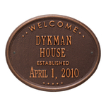 Welcome Oval HOUSE Established Personalized Plaque Antique Copper