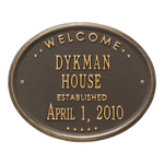 Welcome Oval HOUSE Established Personalized Plaque Bronze & Gold
