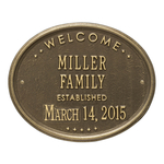Welcome Oval FAMILY Established Personalized Plaque Antique Brass
