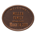Welcome Oval FAMILY Established Personalized Plaque Antique Copper