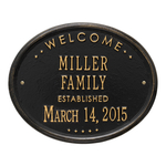 Welcome Oval FAMILY Established Personalized Plaque Black & Gold