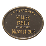 Welcome Oval FAMILY Established Personalized Plaque Bronze & Gold
