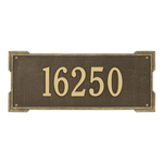 Rectangle Shape Address Plaque Named Roanoke with a Antique Brass Finish, Estate Wall with One Line of Text