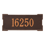 Rectangle Shape Address Plaque Named Roanoke with a Antique Copper Finish, Estate Wall with One Line of Text