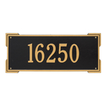 Rectangle Shape Address Plaque Named Roanoke with a Black & Gold Finish, Estate Wall with One Line of Text
