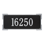 Rectangle Shape Address Plaque Named Roanoke with a Black & Silver Finish, Estate Wall with One Line of Text