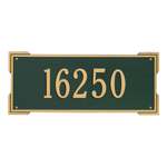 Rectangle Shape Address Plaque Named Roanoke with a Green & Gold Finish, Estate Wall with One Line of Text