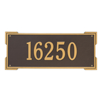 Rectangle Shape Address Plaque Named Roanoke with a Bronze & Gold Finish, Estate Wall with One Line of Text