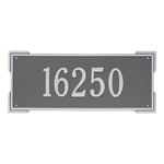 Rectangle Shape Address Plaque Named Roanoke with a Pewter & Silver Finish, Estate Wall with One Line of Text
