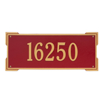 Rectangle Shape Address Plaque Named Roanoke with a Red & Gold Finish, Estate Wall with One Line of Text