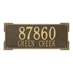 Rectangle Shape Address Plaque Named Roanoke with a Antique Brass Finish, Estate Wall with Two Lines of Text