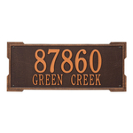 Rectangle Shape Address Plaque Named Roanoke with a Antique Copper Finish, Estate Wall with Two Lines of Text