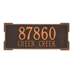 Rectangle Shape Address Plaque Named Roanoke with a Oil Rubbed Bronze Finish, Estate Wall with Two Lines of Text