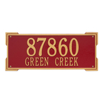 Rectangle Shape Address Plaque Named Roanoke with a Red & Gold Finish, Estate Wall with Two Lines of Text