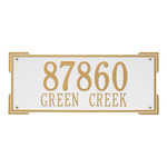 Rectangle Shape Address Plaque Named Roanoke with a White & Gold Finish, Standard Wall with Two Lines of Text