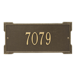 Rectangle Shape Address Plaque Named Roanoke with a Antique Brass Finish, Standard Wall with One Line of Text