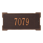 Rectangle Shape Address Plaque Named Roanoke with a Antique Copper Finish, Standard Wall with One Line of Text