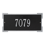 Rectangle Shape Address Plaque Named Roanoke with a Black & Silver Finish, Standard Wall with One Line of Text