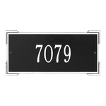 Rectangle Shape Address Plaque Named Roanoke with a Black & White Finish, Standard Wall with One Line of Text
