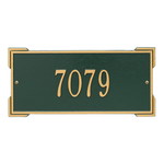 Rectangle Shape Address Plaque Named Roanoke with a Green & Gold Finish, Standard Wall with One Line of Text