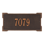 Rectangle Shape Address Plaque Named Roanoke with a Oil Rubbed Bronze Finish, Standard Wall with One Line of Text