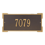 Rectangle Shape Address Plaque Named Roanoke with a Bronze & Gold Finish, Standard Wall with One Line of Text