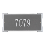 Rectangle Shape Address Plaque Named Roanoke with a Pewter & Silver Finish, Standard Wall with One Line of Text