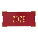 Rectangle Shape Address Plaque Named Roanoke with a Red & Gold Finish, Standard Wall with One Line of Text
