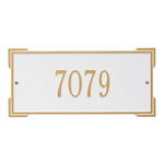 Rectangle Shape Address Plaque Named Roanoke with a White & Gold Finish, Standard Wall with One Line of Text