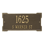 Rectangle Shape Address Plaque Named Roanoke with a Antique Brass Finish, Standard Wall with Two Lines of Text