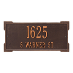 Rectangle Shape Address Plaque Named Roanoke with a Antique Copper Finish, Standard Wall with Two Lines of Text