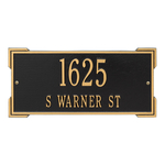 Rectangle Shape Address Plaque Named Roanoke with a Black & Gold Finish, Standard Wall with Two Lines of Text
