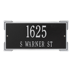 Rectangle Shape Address Plaque Named Roanoke with a Black & Silver Finish, Standard Wall with Two Lines of Text