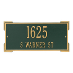 Rectangle Shape Address Plaque Named Roanoke with a Green & Gold Finish, Standard Wall with Two Lines of Text