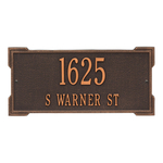 Rectangle Shape Address Plaque Named Roanoke with a Oil Rubbed Bronze Finish, Standard Wall with Two Lines of Text