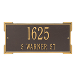 Rectangle Shape Address Plaque Named Roanoke with a Bronze & Gold Finish, Standard Wall with Two Lines of Text