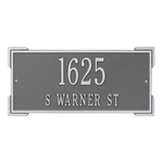 Rectangle Shape Address Plaque Named Roanoke with a Pewter & Silver Finish, Standard Wall with Two Lines of Text