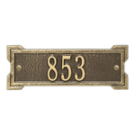 Rectangle Shape Address Plaque Named Roanoke with a Antique Brass Plaque Petite Wall with One Line of Text